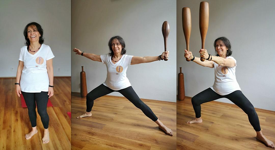funkcionális jóga barbár guggolás buzogány indian club