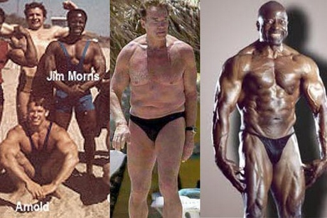 Jim Morris vegán testépítő Arnold Schwarzeneggerrel